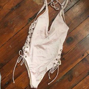 LA Hearts Sexy side tie one piece pink swimwear